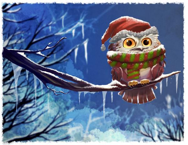 Owl Christmas Wallpape...