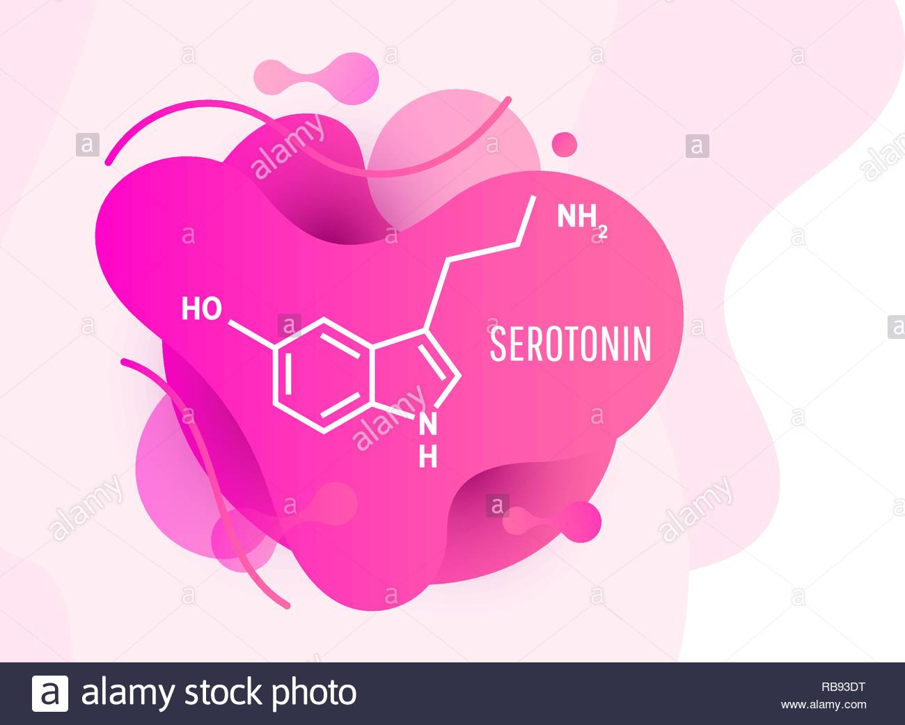 Serotonin hormone structural chemical formula on wave liquid 1300x1042