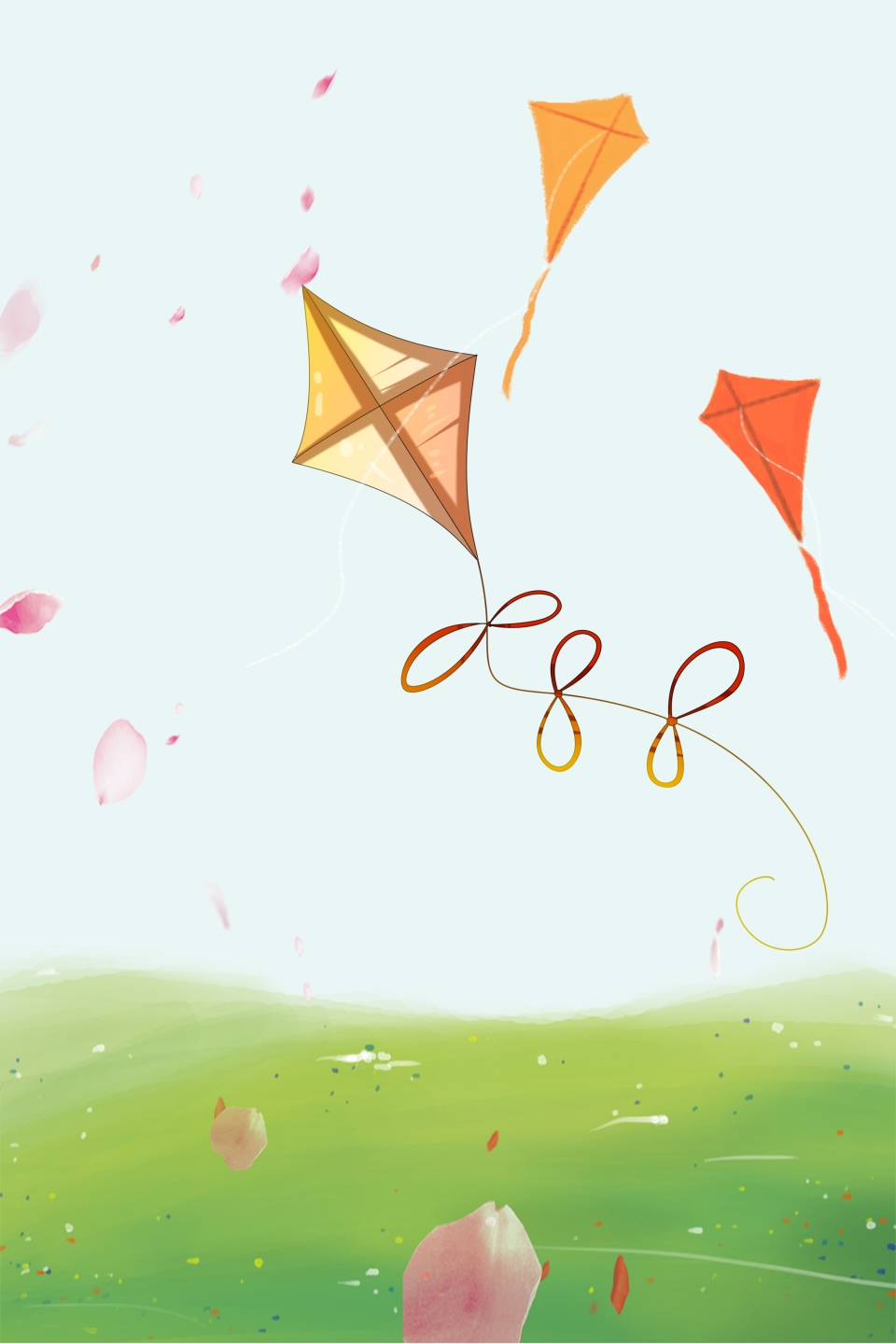 Spring Kite Psd Layered Background Fresh Grass Kites Background 960x1440