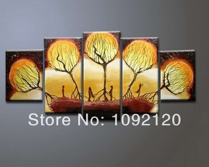 Painting wallpaper murals hand paint canvas oil paintings 5 panel wall 700x561