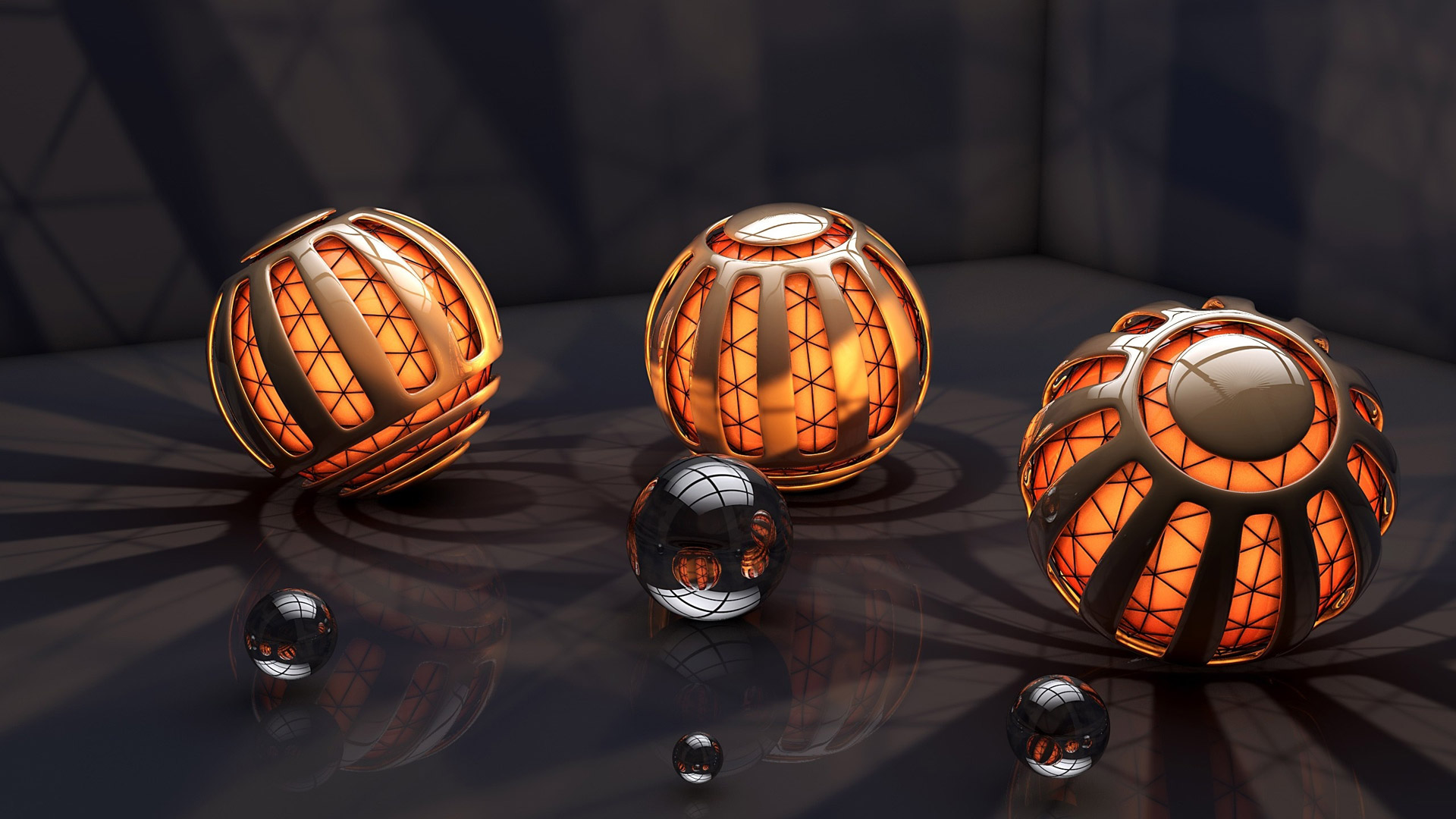 3d black and orange balls wallpapers55com   Best Wallpapers for PCs 1920x1080