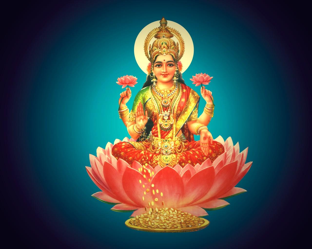 hindu god lakshmi hindu god lakshmi on pink lotus 1280x1024