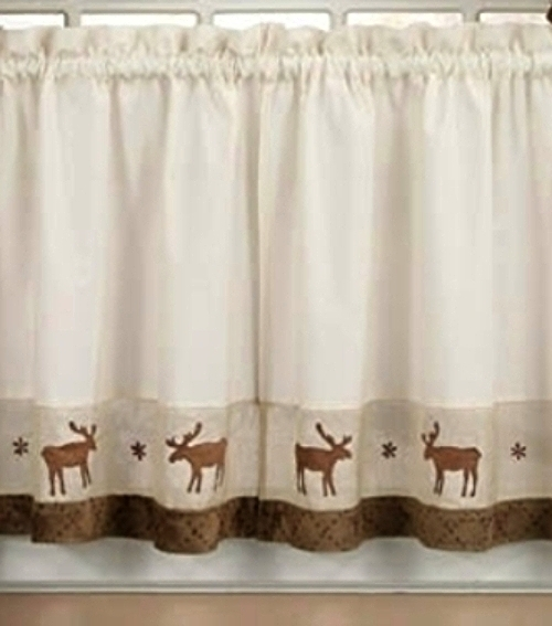 Set of Moose 36 Tiers Log Cabin Rustic Lodge Window Curtain 500x567