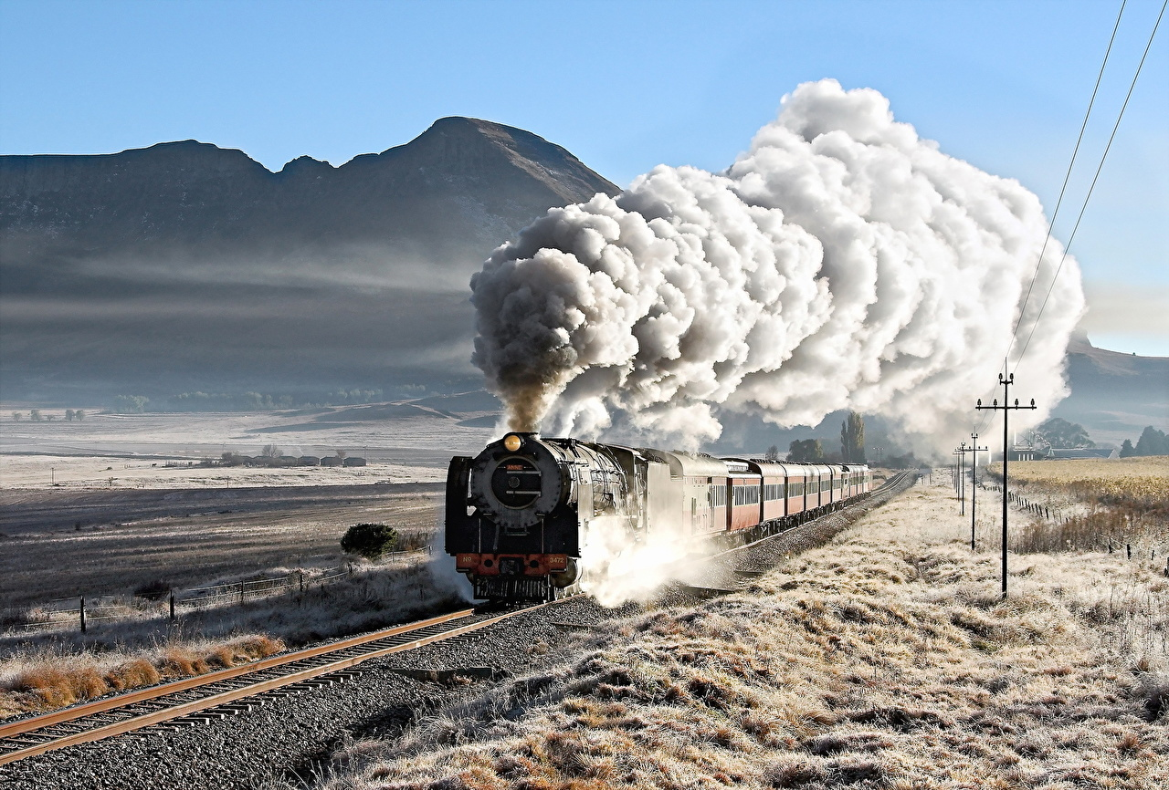 Wallpaper Locomotive mountain Trains driving Smoke 1280x866