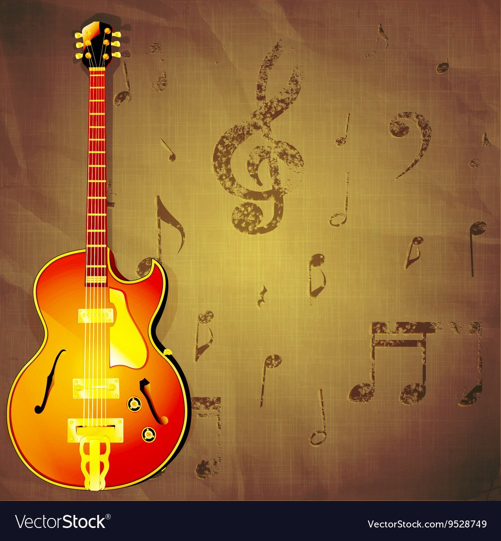 Jazz guitar on paper background with music notes Vector Image 1000x1080