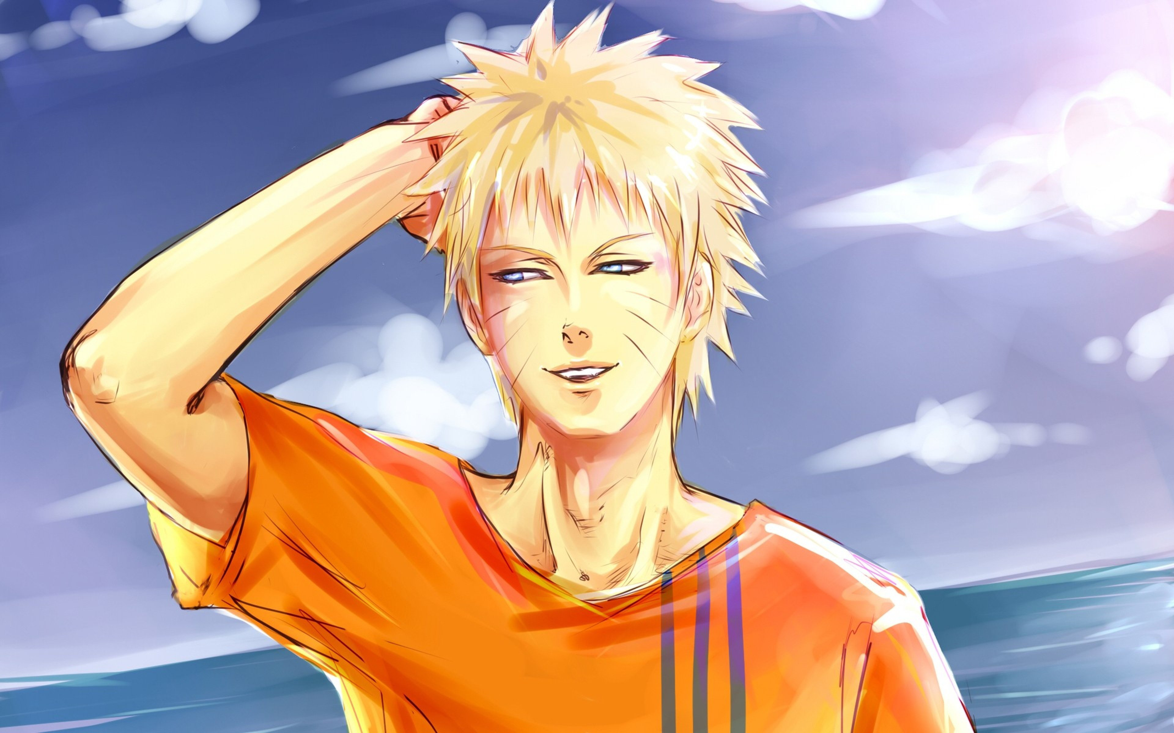 Download Wallpaper 3840x2400 naruto shippuuden naruto boy shirt 3840x2400