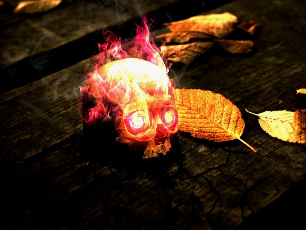 flames skulls red yellow wood fire dead leaves textures glow flaming 1024x768