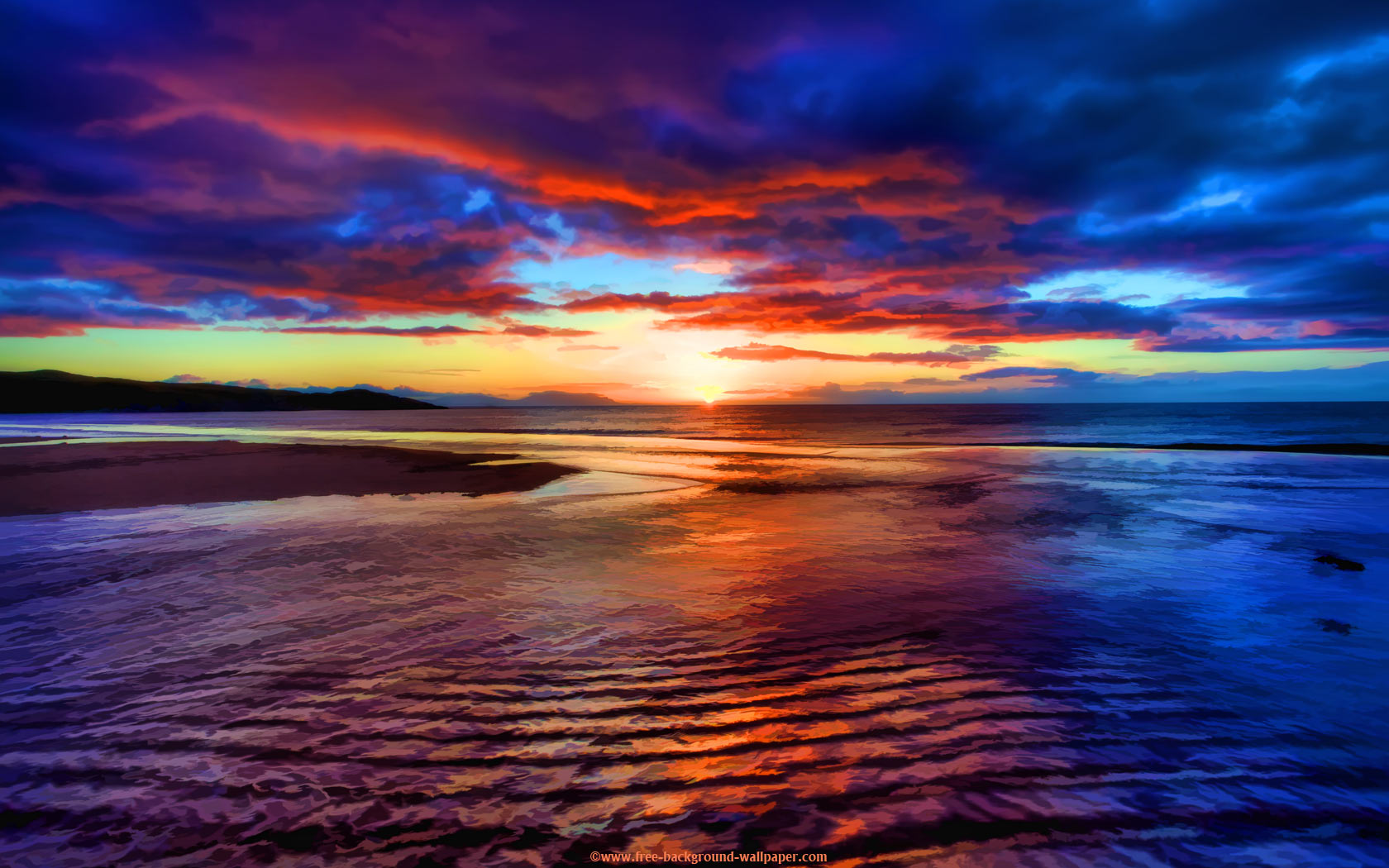 Sunset Beach Scotland   Beautiful Background Wallpaper   1680x1050 1680x1050