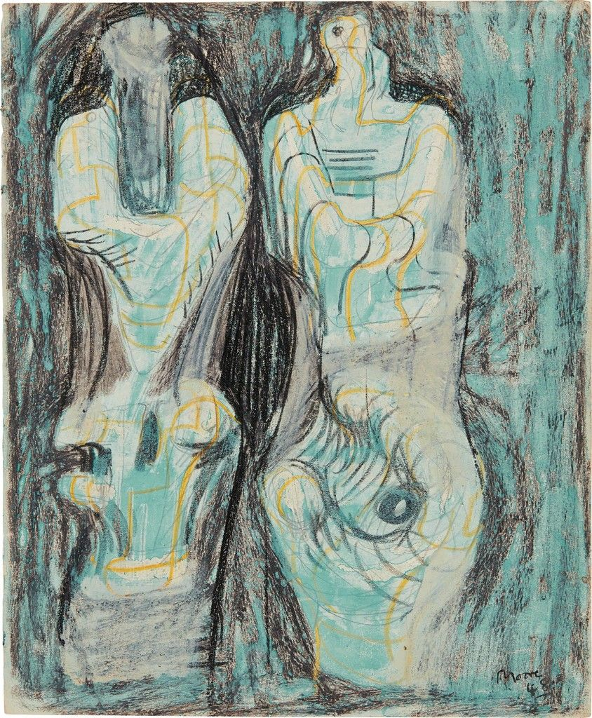 Henry Moore Page from Sketchbook Two Sculptural Figures on 844x1024