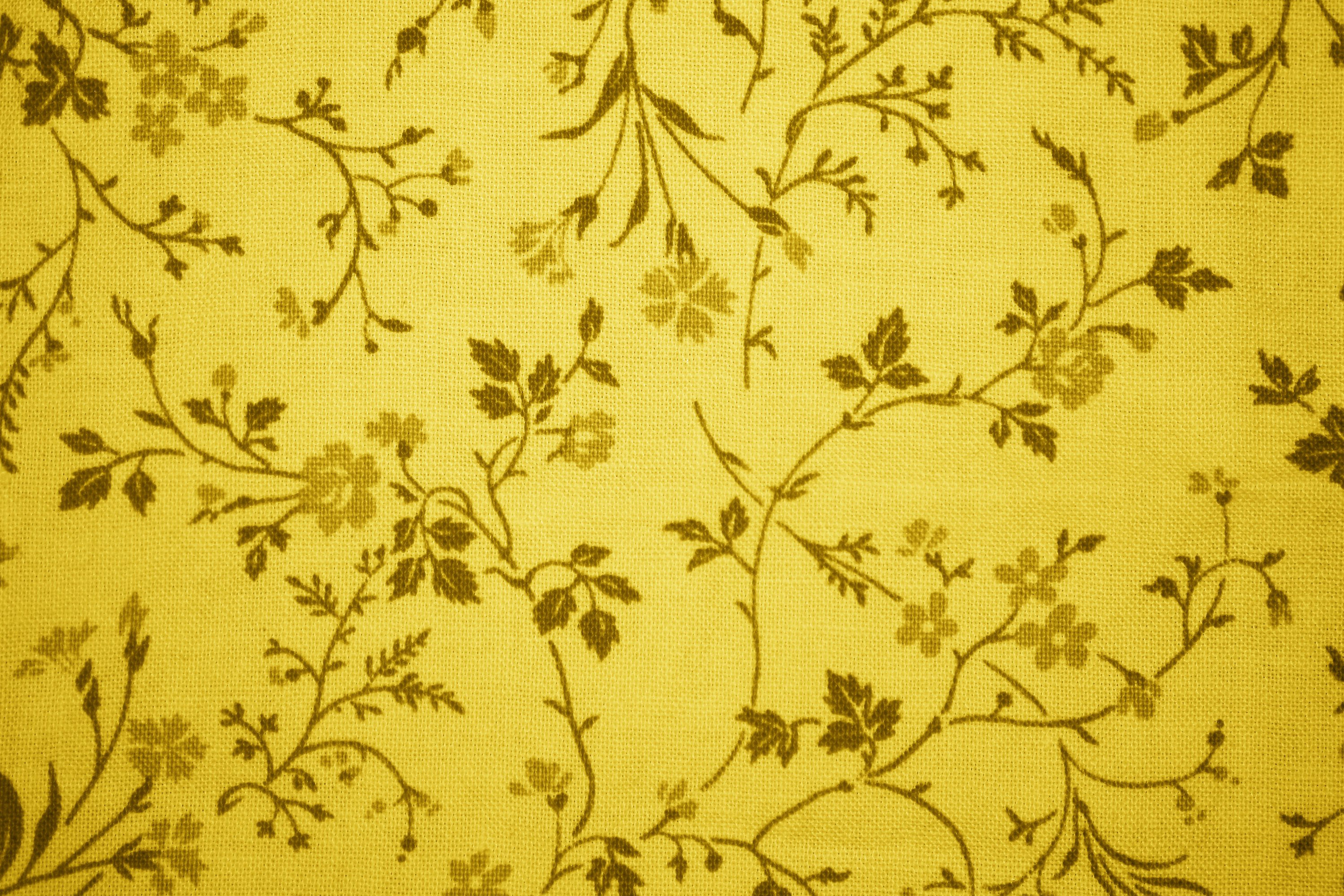 Gold Floral Print Fabric Texture Picture Photograph Photos 3000x2000