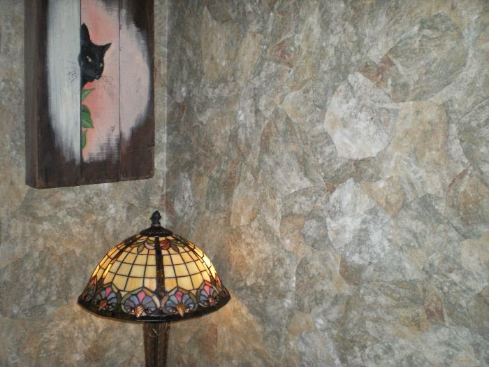DIY Create an Elegant Faux Finish with Paper Illusion Wallpaper 700x525