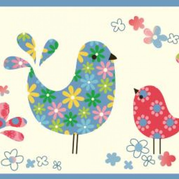 Patria Blue Calico Birdies Toss Border Wallpaper Warehouse 600x600