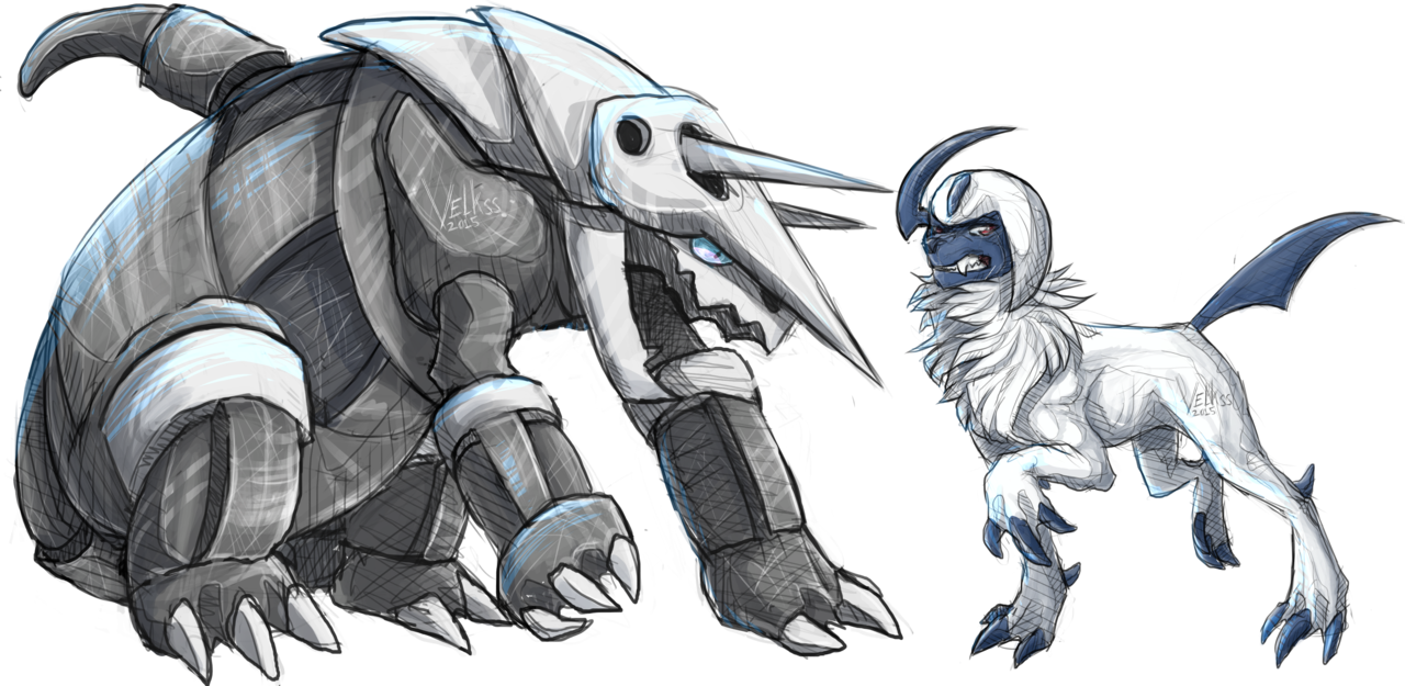 Aggron And Absol by Velkss 1280x625