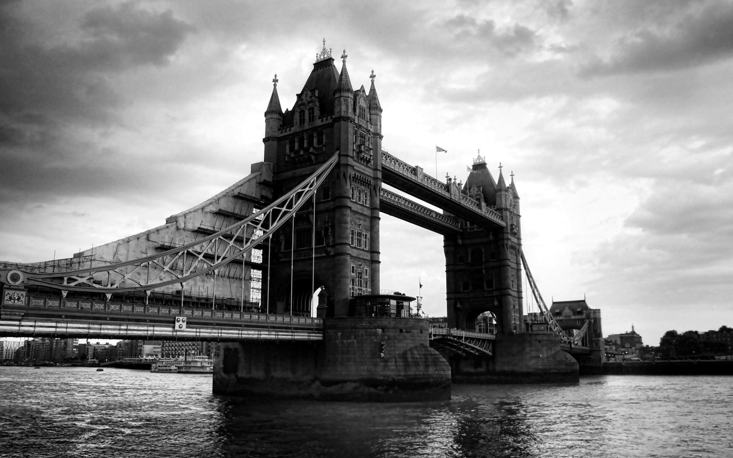 Free Download London Tower Bridge Black And White Hd