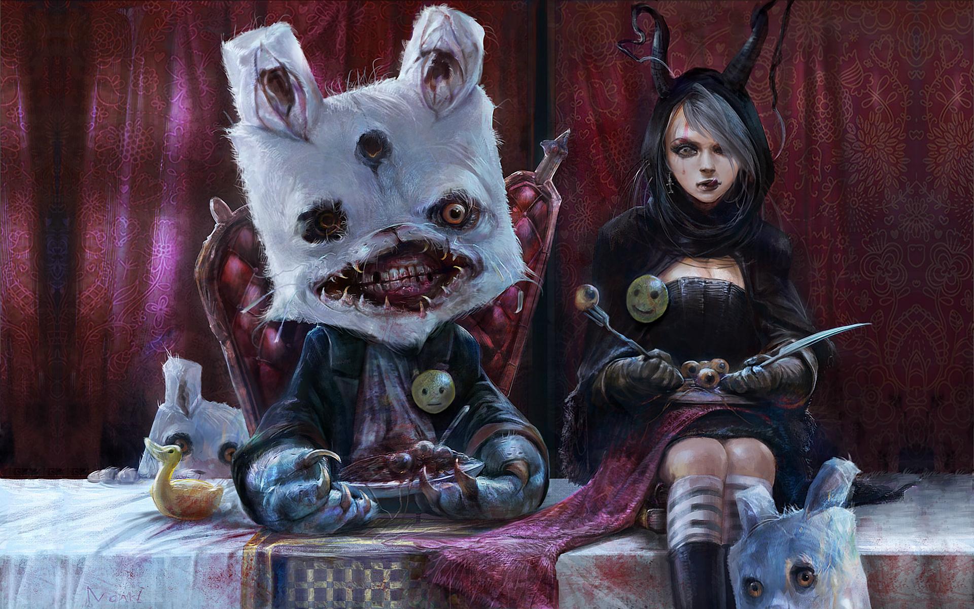 hong Kuang Dark Horror Anime Alice Fantasy Gross Gore 1920x1200