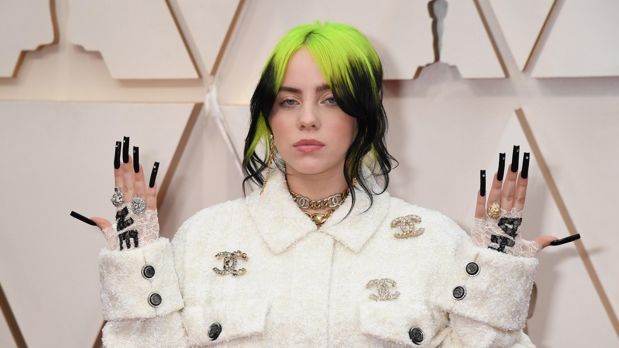 Oscars 2020 Billie Eilish Wears All Chanel and Black Jeweled Nail 2560x1440