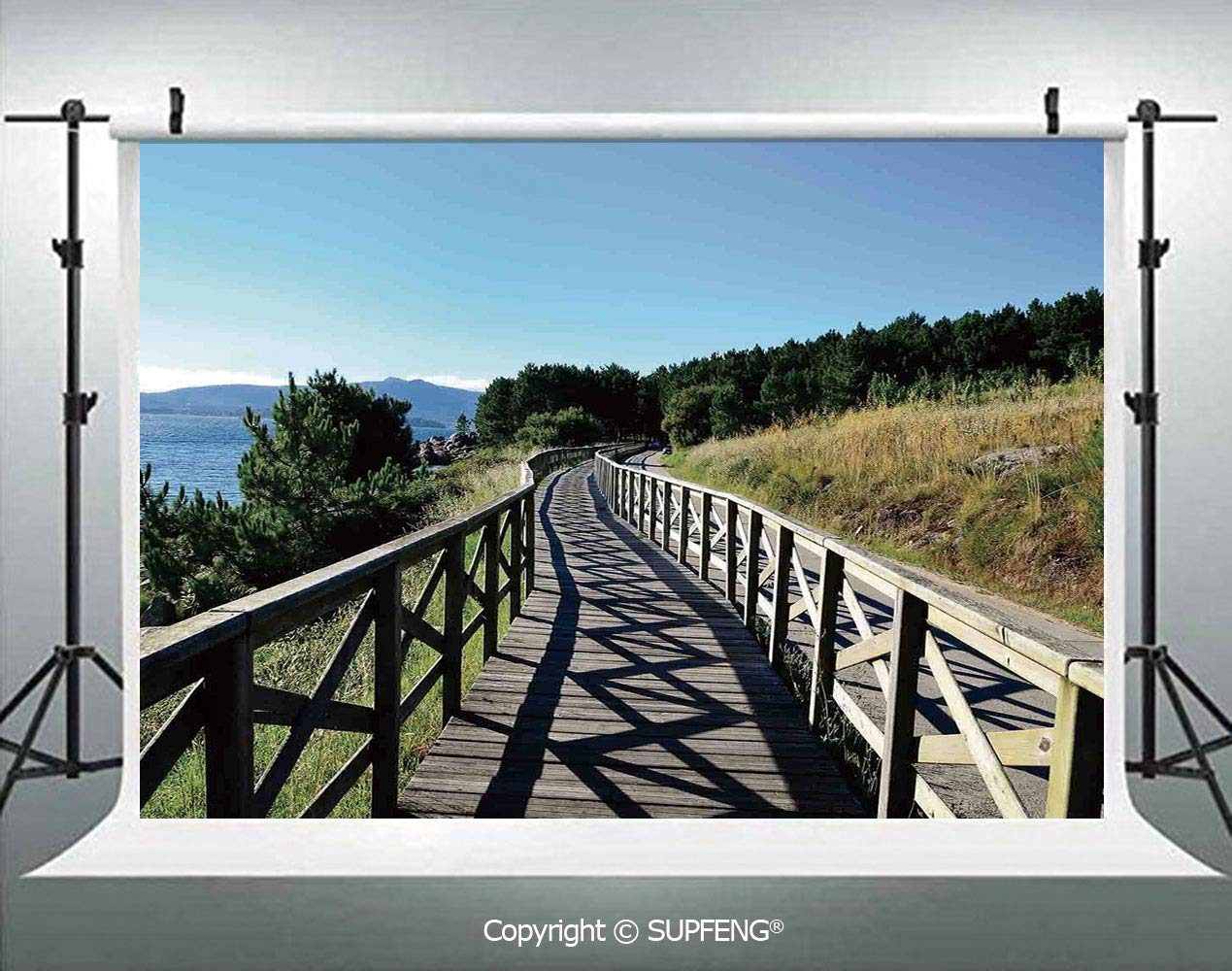 Amazoncom Photography Background Wooden Pathway by Sea Bridge 1269x1000
