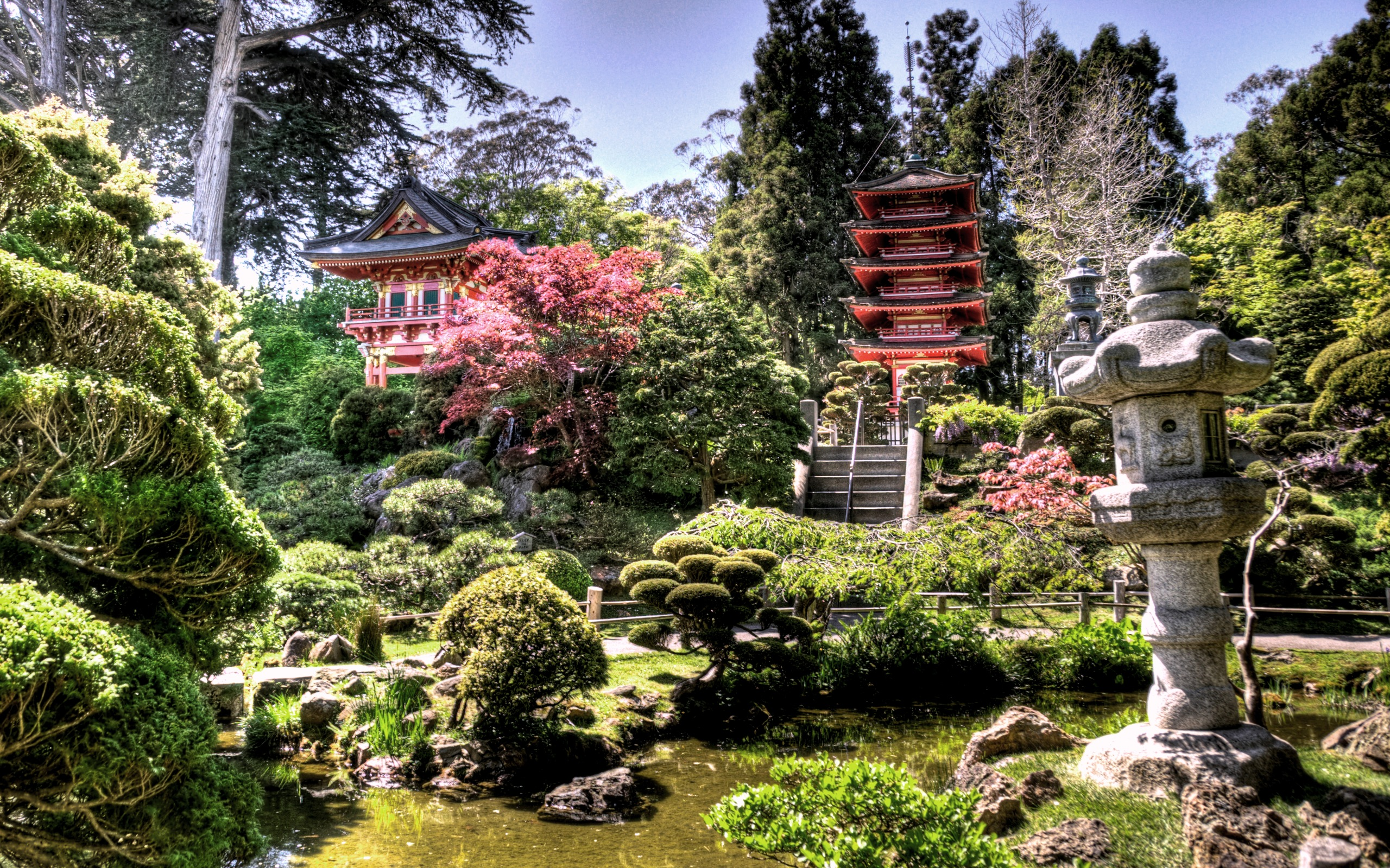 Japan Temple Mountain Nature Landscape  HD POSTER