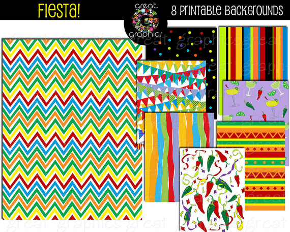 Fiesta Paper Fiesta Party Digital Paper Cinco De Mayo 570x456