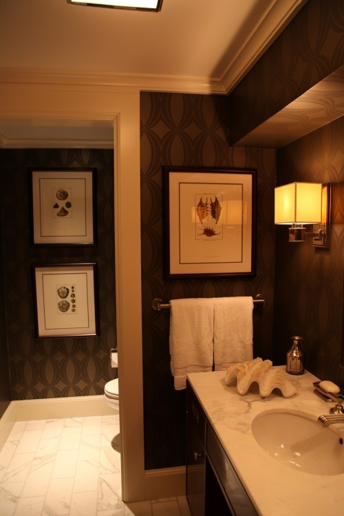 Masculine version   dark sultry wallpaper Great for a powder room 500x750