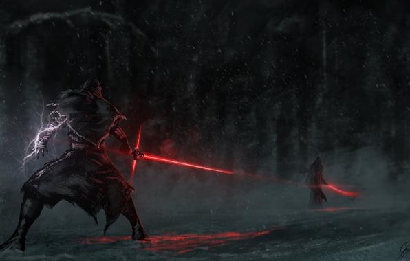 Wallpaper star wars kylo ren laser sword fight wallpapers films 596x380