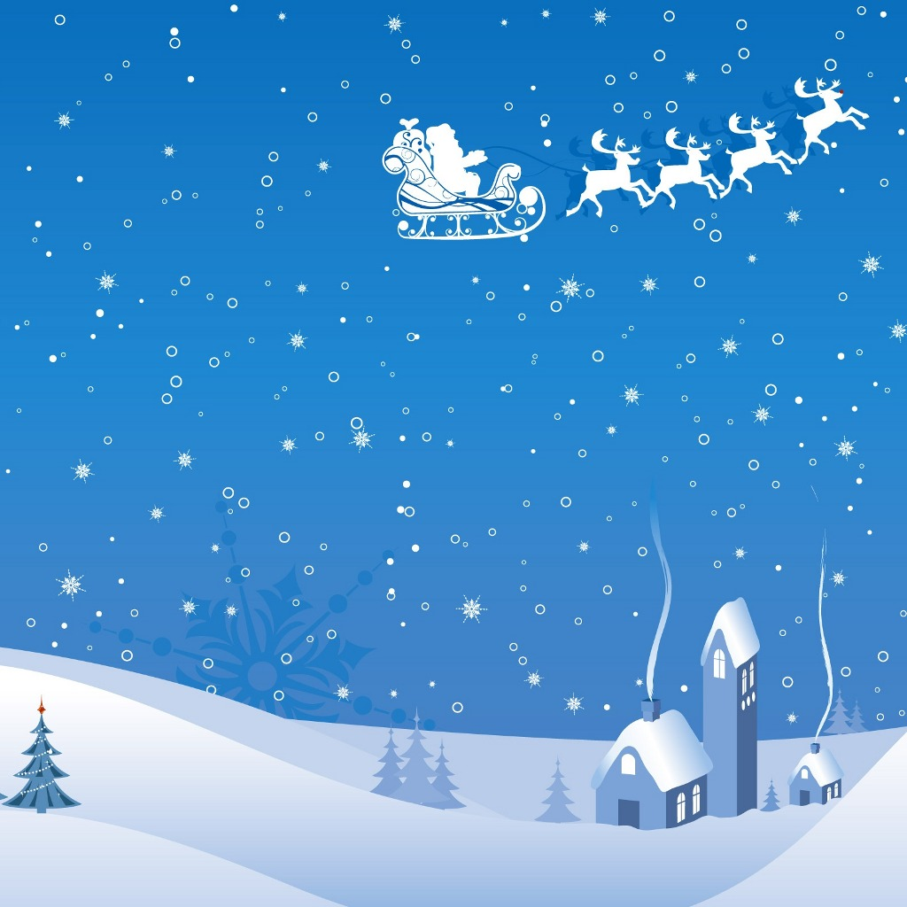 FREE Wallpapers for iPad Christmas winter vector 1024x1024