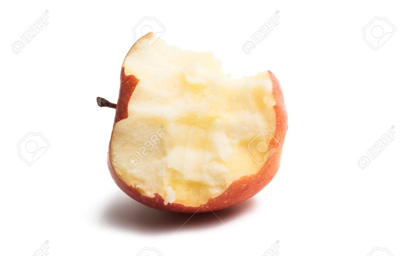 Stub Ripe Apple Isolated On White Background Stock Photo Picture 1300x816