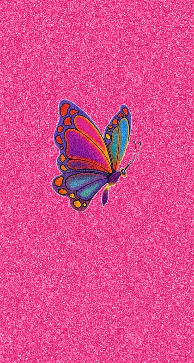 Pink Glitter Colorful Butterfly iPhone Wallpaper Wallpaper 2 in 744x1392