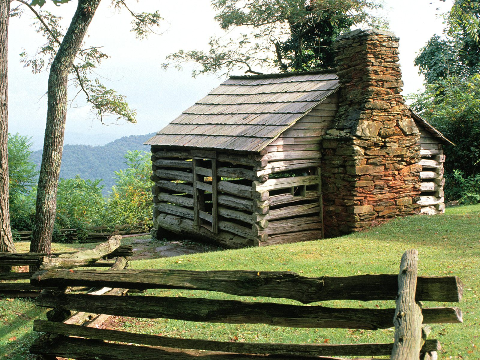 Log Cabin Blue Ridge Parkway Virginia Related river 4 Moat Wallpapers 1600x1200