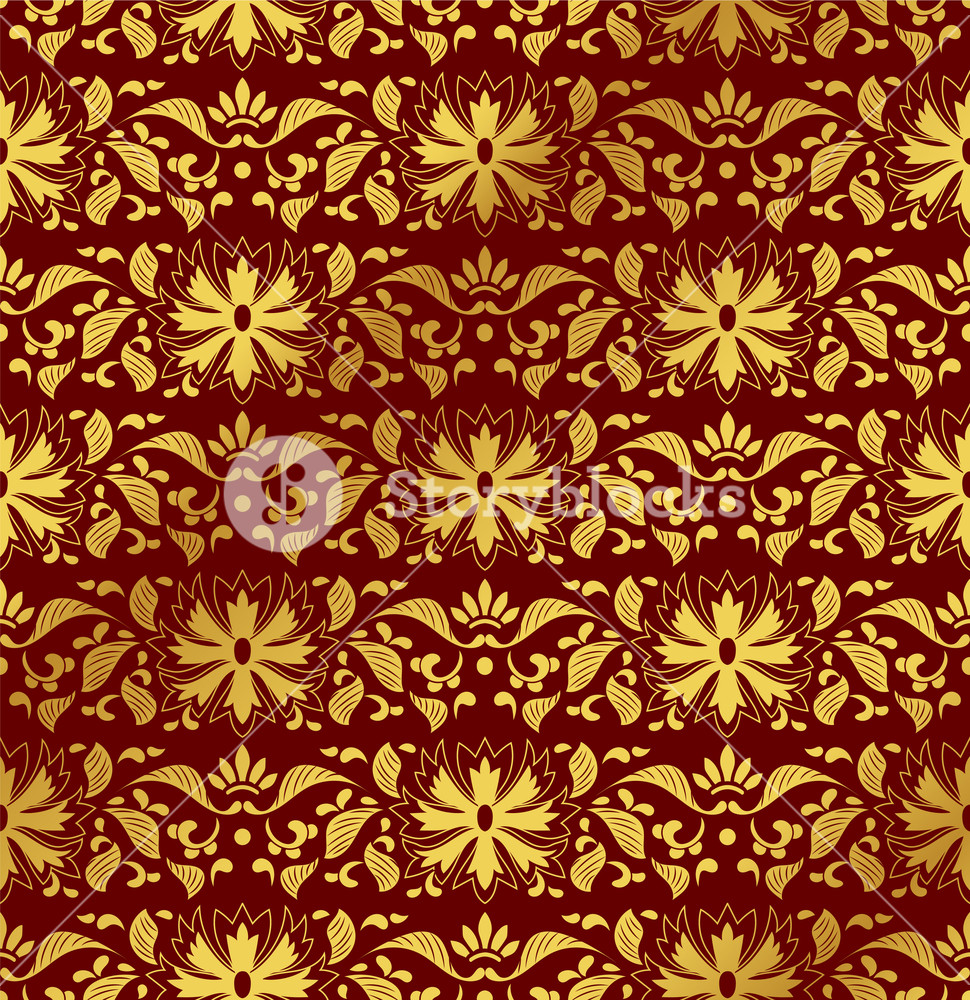 Seamless Golden Chinese Background botanic garden nature leaf 970x1000