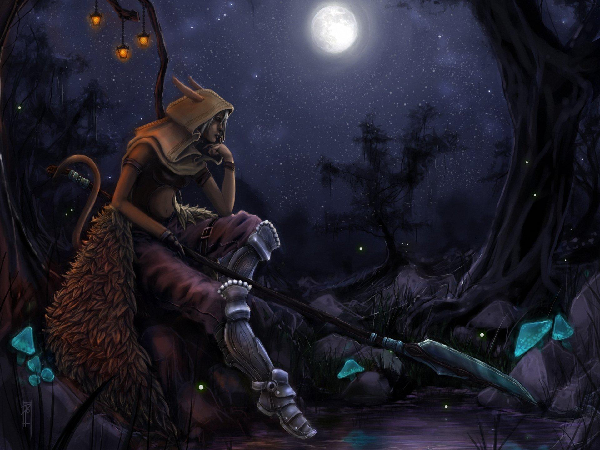 Warrior Elves Spear Night Moon Hood headgear Fantasy elf wallpaper 1920x1440