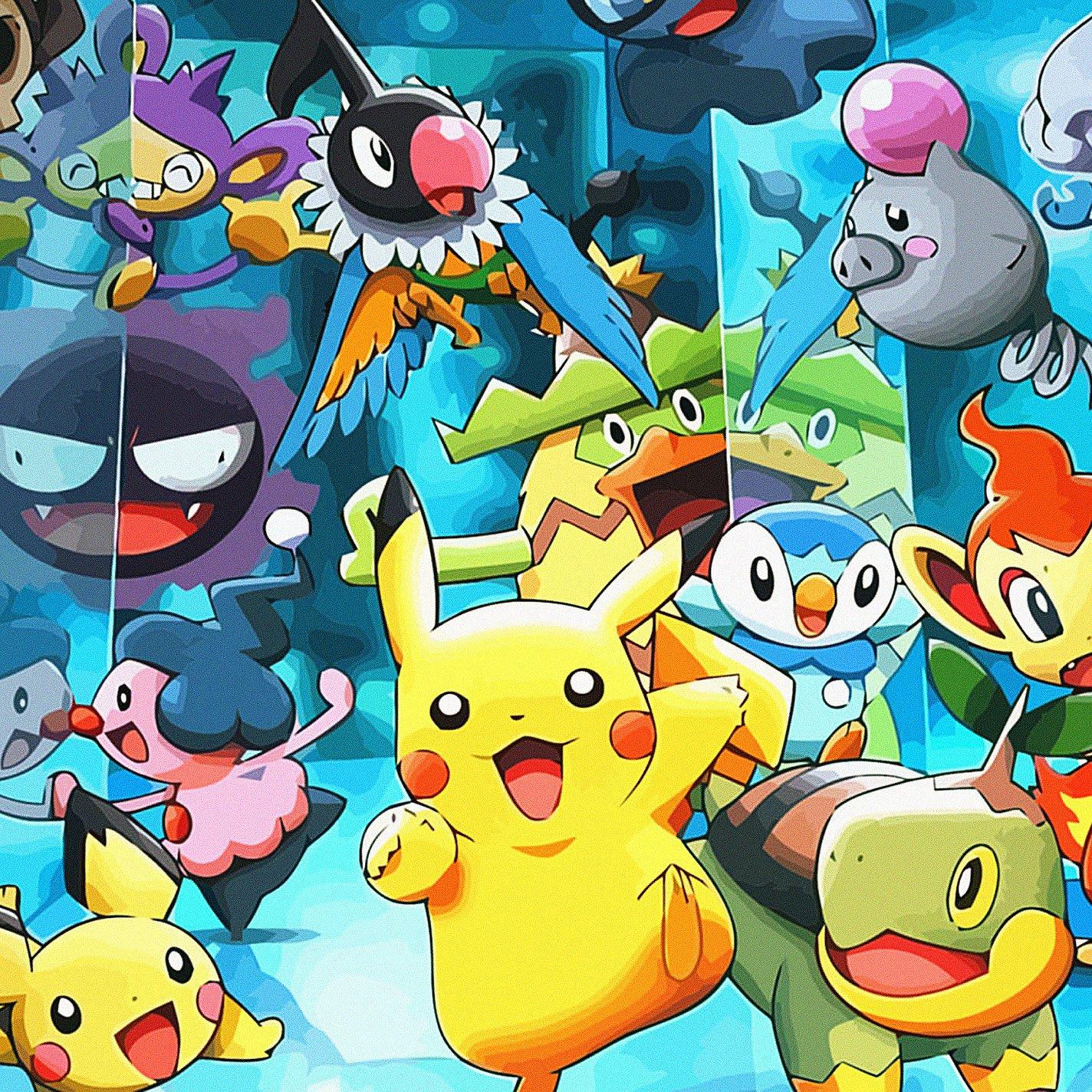 FREEIOS7 pikachu pokemon   parallax HD iPhone iPad wallpaper 1424x1424