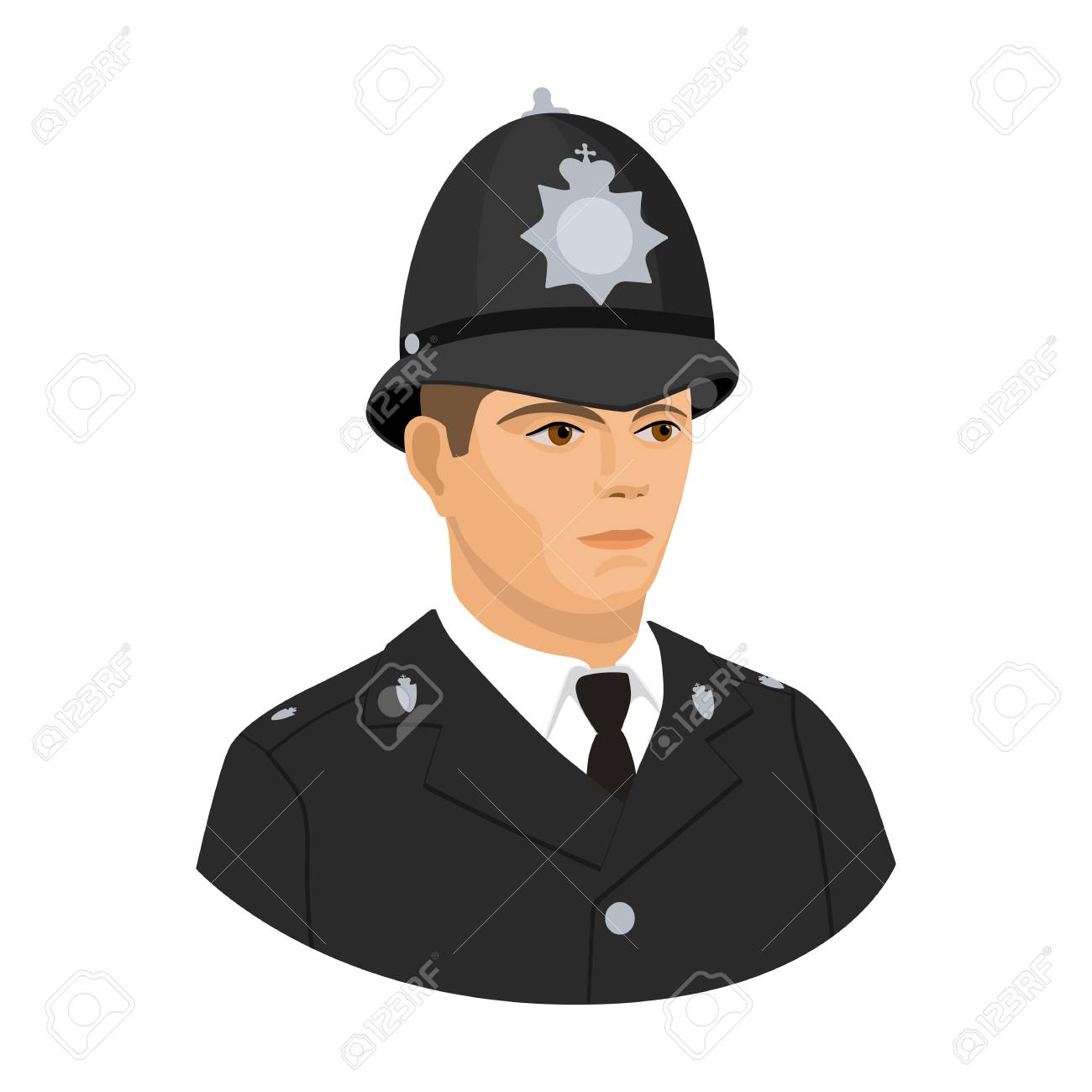 English Policeman Icon In Cartoon Style Isolated On White 1300x1300