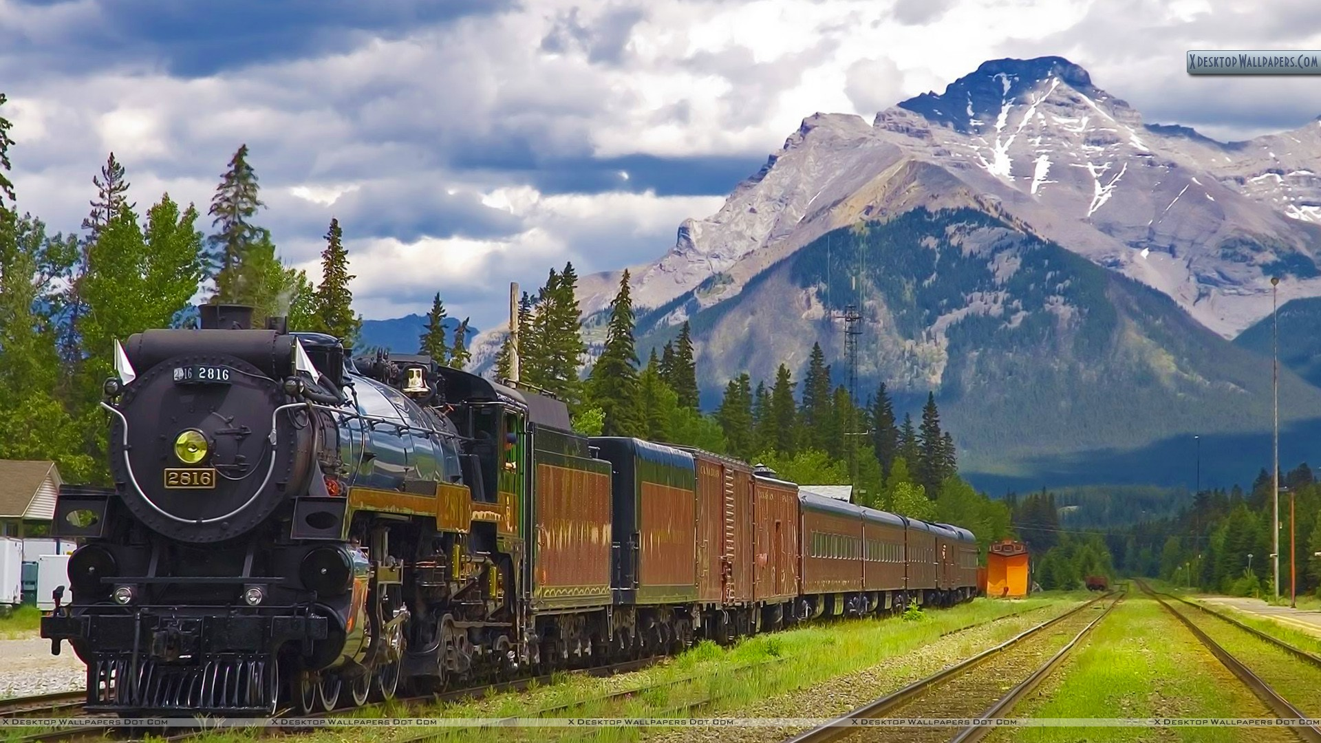Train Station Banff National Park Alberta Wallpaper 1920x1080