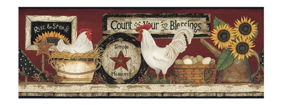 Country Rooster Shelf Wallpaper Border chicken CB5538BD sunflowers 960x360