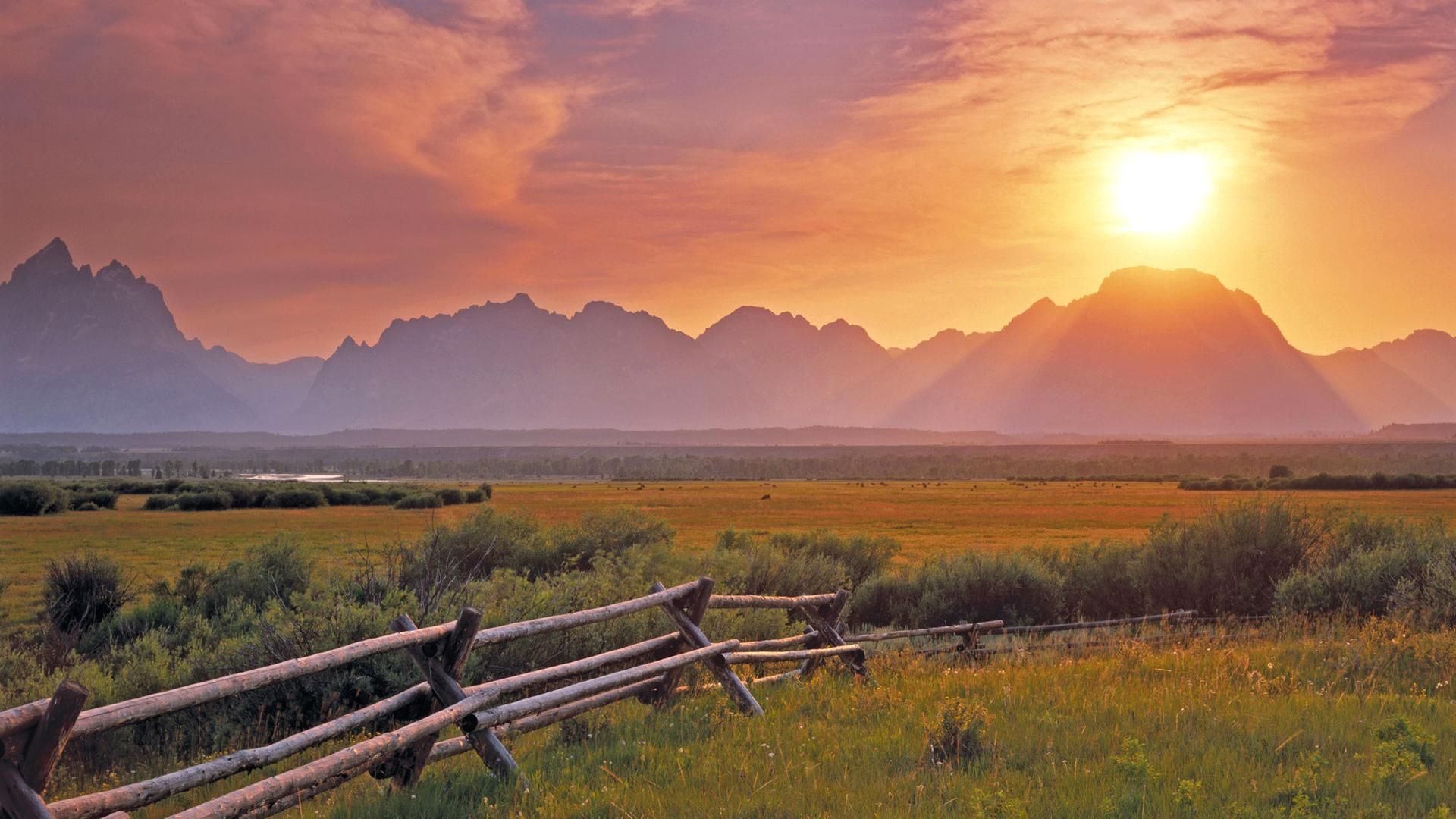 Grassland sunrise scenery desktop backgrounds wide wallpapers 1920x1080