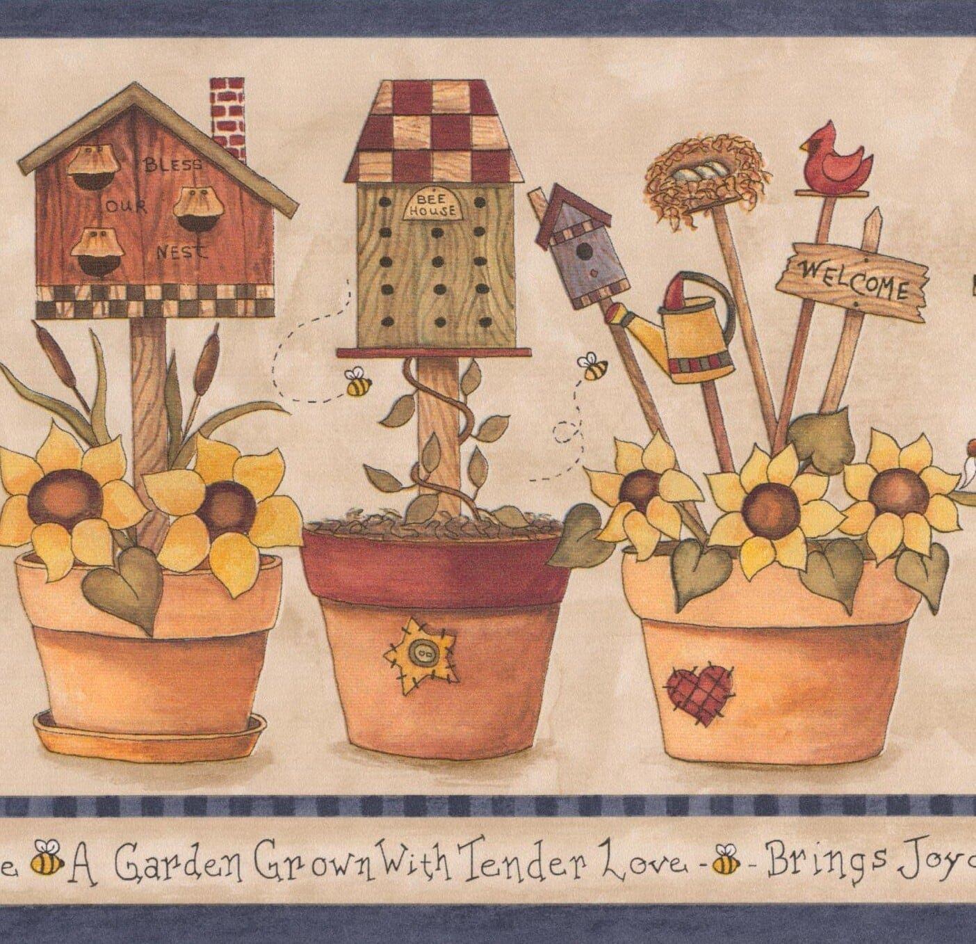 Yellow Flowers in Pots Birdhouse Bee Nest Farmhouse Wallpaper 1404x1357