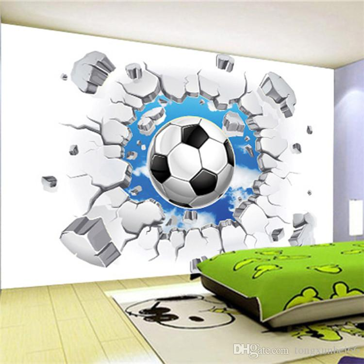 Custom 3D Mural Wallpaper Modern Simple Football Broken Wall Photo 750x750
