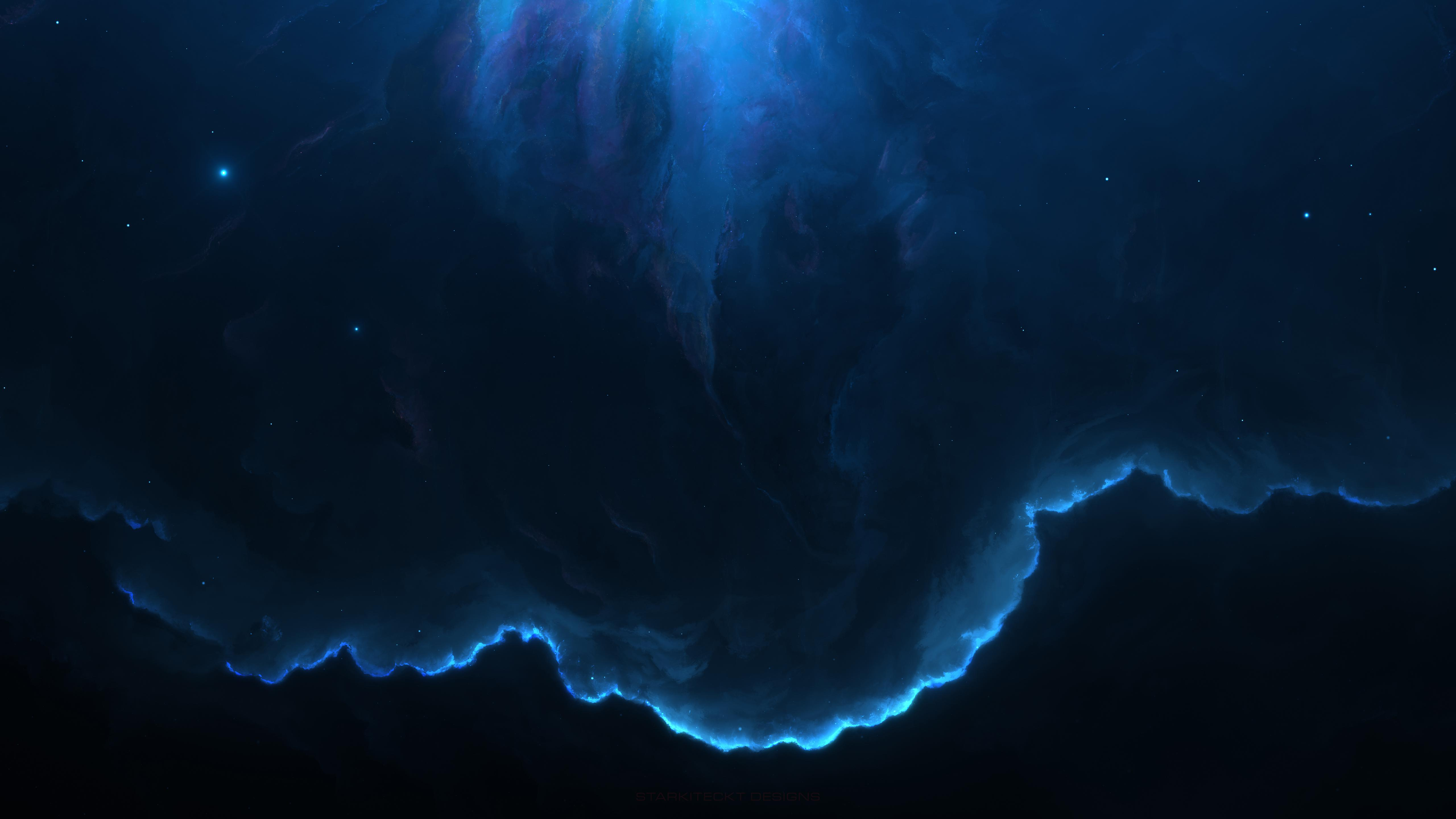 Blue Space Nebula 4K wallpaper