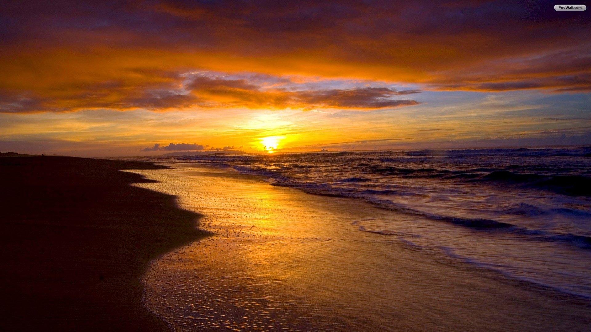 YouWall   Beach Sunset Wallpaper   wallpaperwallpapersfree wallpaper 1920x1080