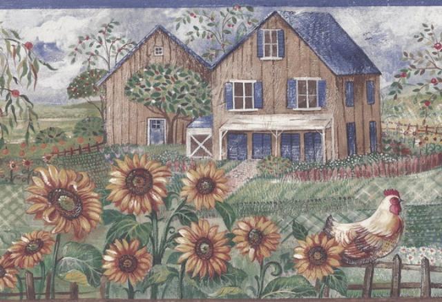 Blue Frontyard Sunflower Roosters Wallpaper Border   Country Folk 640x437