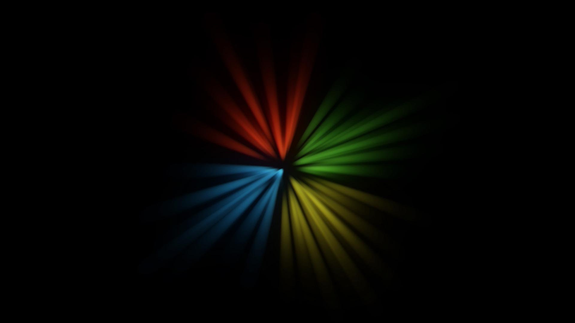 Windows Logo 3d art abstract black blue green red yellow 1920x1080