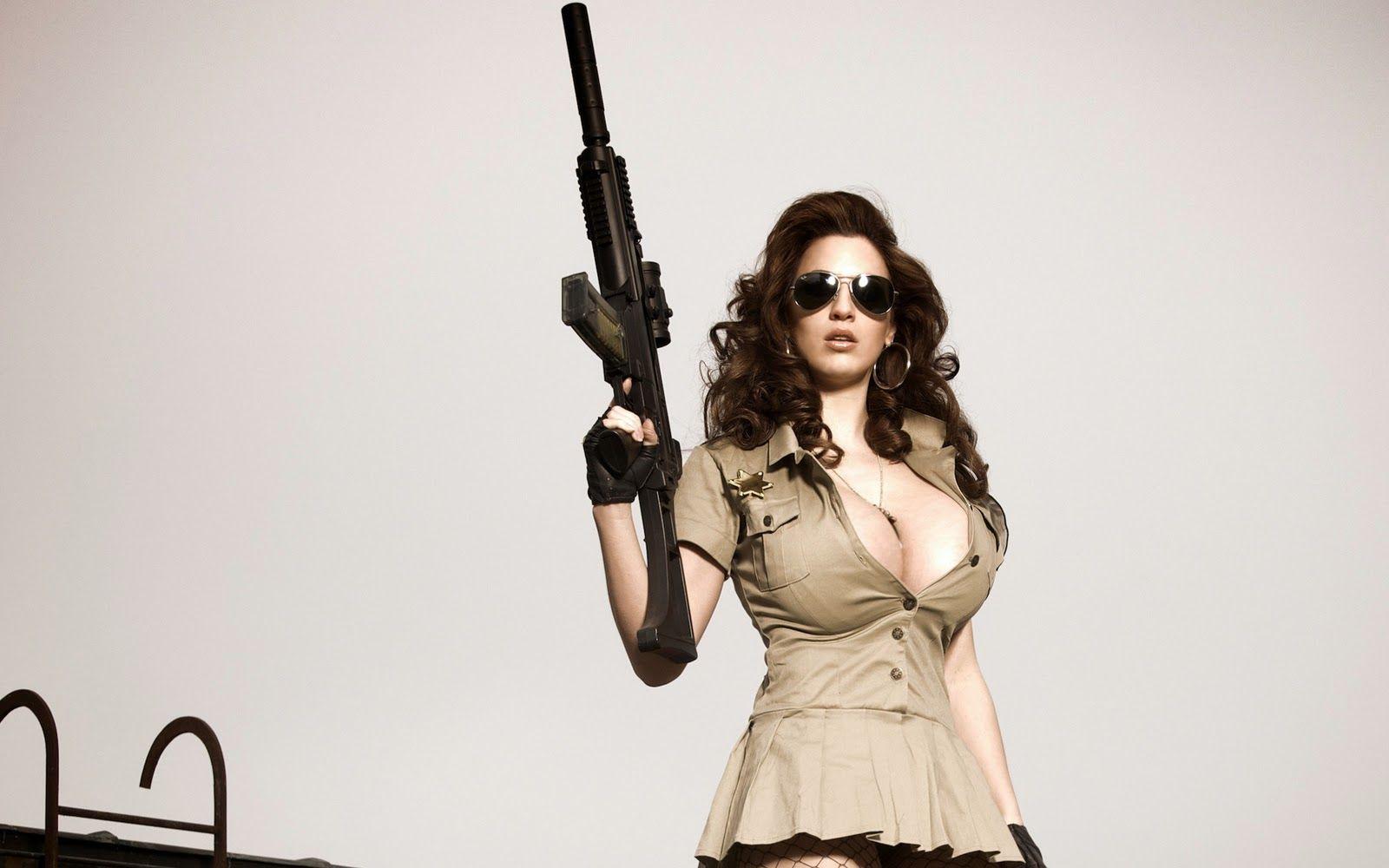 Buxom with rifle Things to draw Girl guns Guns Cool guns 1600x1000