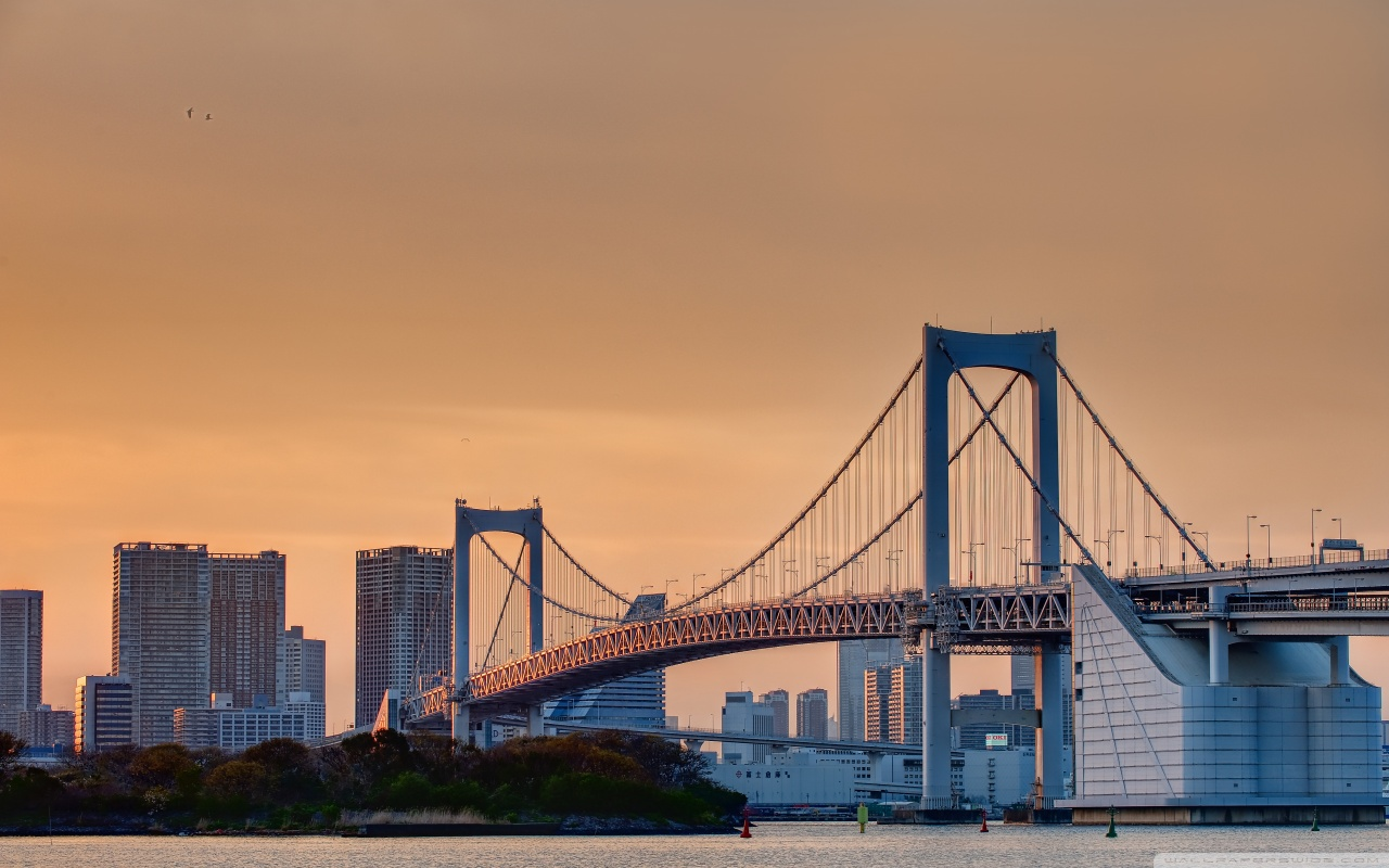 Odaiba Rainbow Bridge 4K HD Desktop Wallpaper for 4K Ultra HD 1280x800