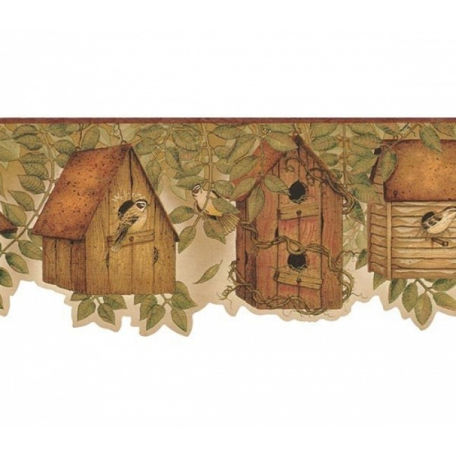 Country Kitchen Birdhouse with Brownish Burgandy edge Wallpaper Border 650x650