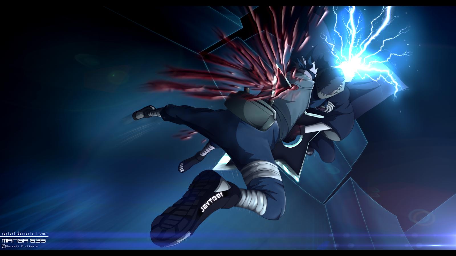 Kakashi Raikiri Blood Lightning Fighting Anime HD Wallpaper 1600x900