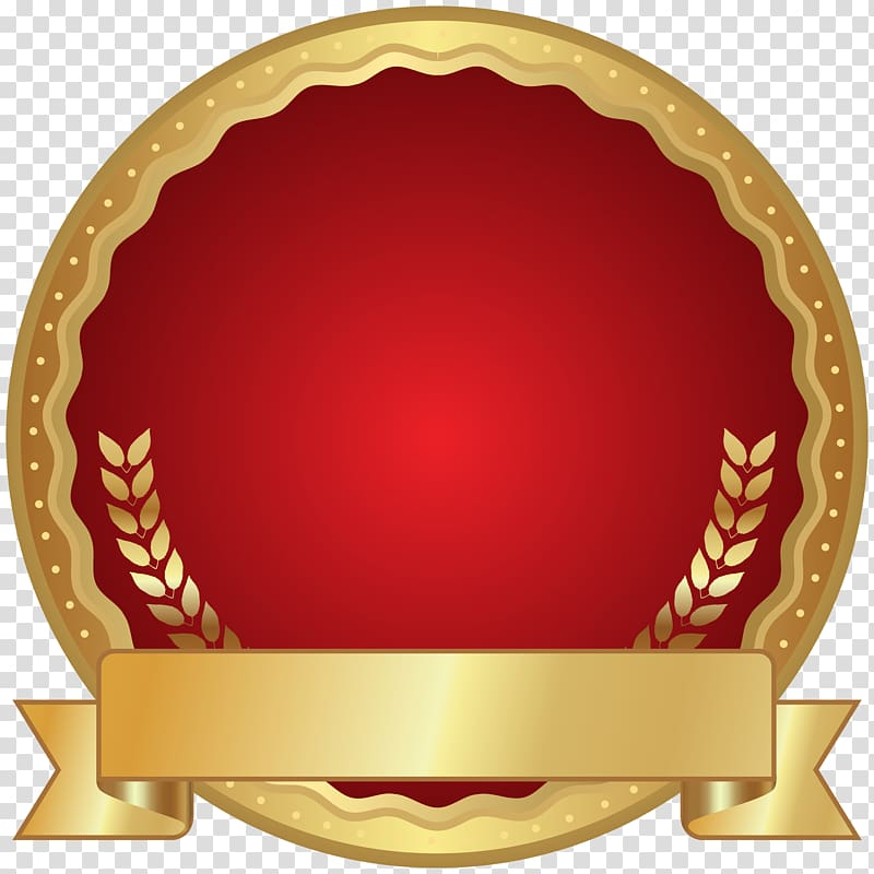 Gold and red art illustration Red Seal Badge transparent 800x800