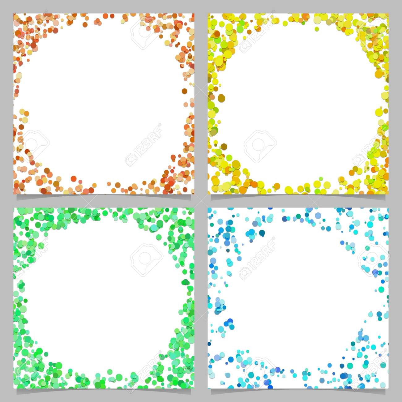 Colored Abstract Round Border Background Design Set With Dots 1300x1300