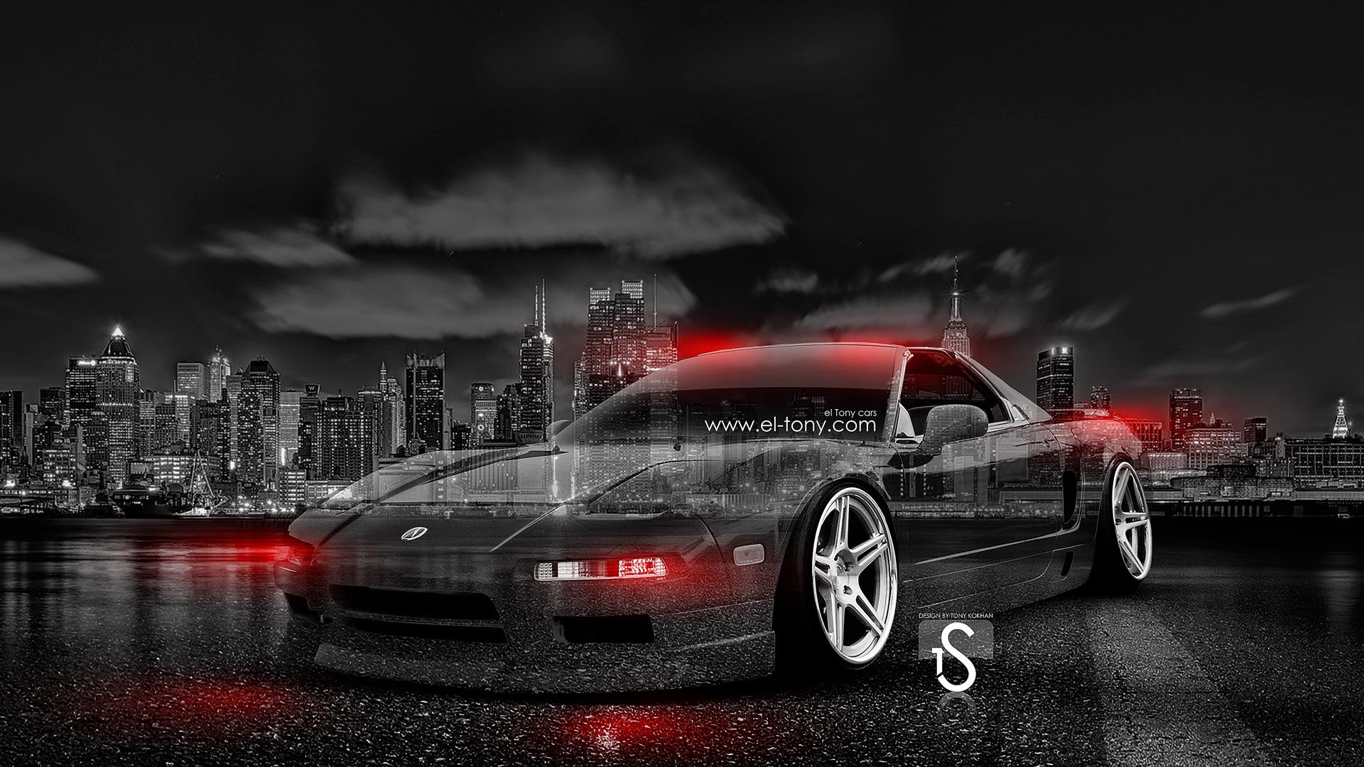 Honda NSX JDM Crystal City Car 2014 Orange Neon HD Wallpapers Design  1920x1080