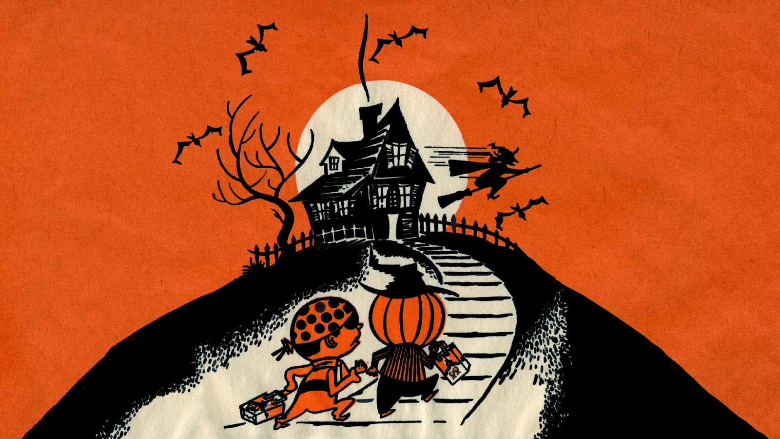 Neato Coolville HALLOWEEN WALLPAPER UP THE HILL TRICK OR TREAT 1600x900